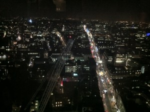 View of Oxford Street at night from Centrepoint