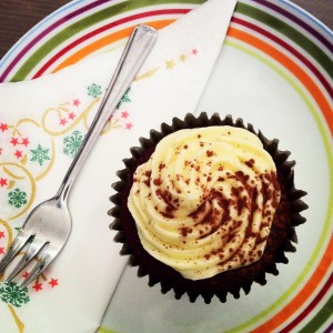 Cupcake on plate with fork