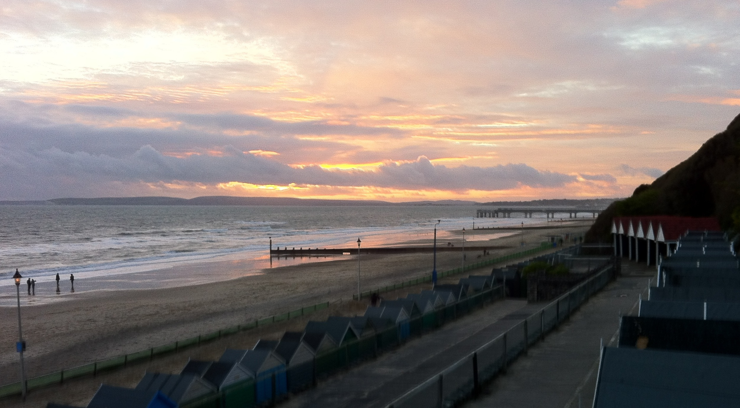 View of Boscombe beach and Bournemouth pier