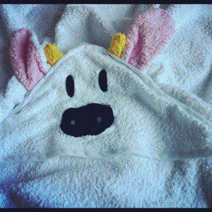 Cowshed baby bath towel