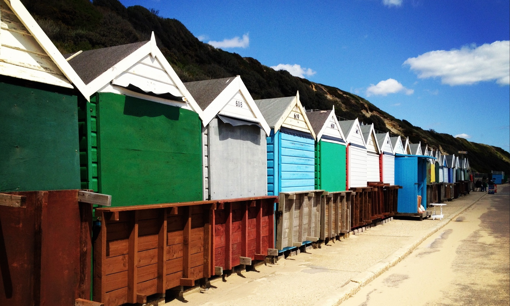 Beach huts at Boscombe beach in Bournemouth