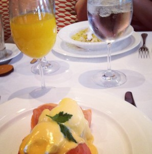 Eggs benedict at the Charlotte Street Hotel