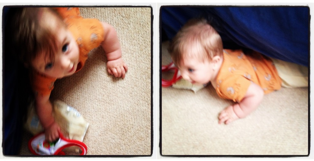 Baby under sofa