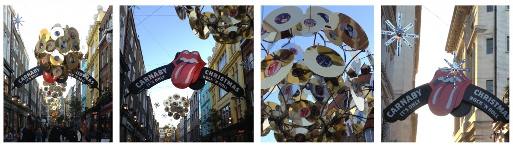 Carnaby Streey Christmas lights with a Rolling Stone theme