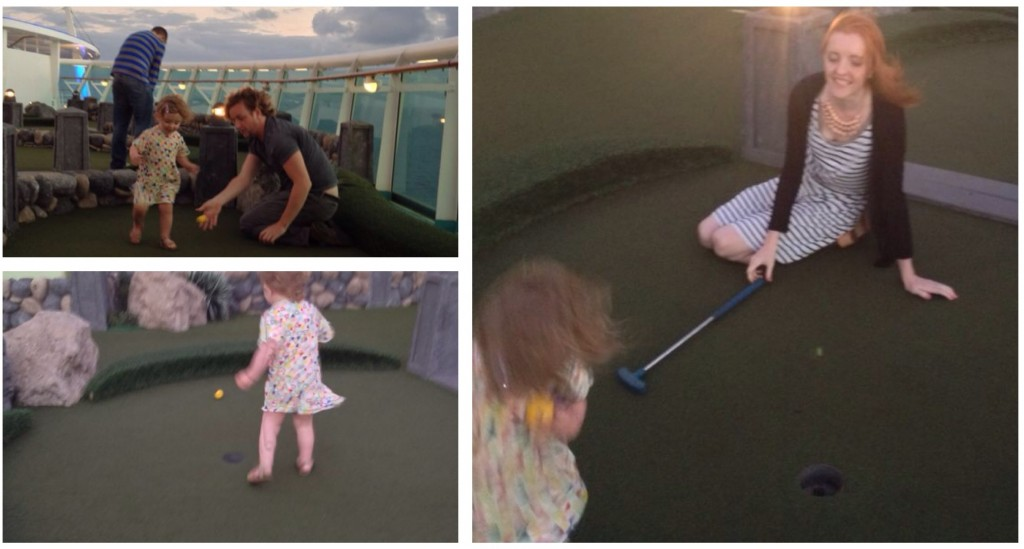 Playing crazy golf on a cruise ship