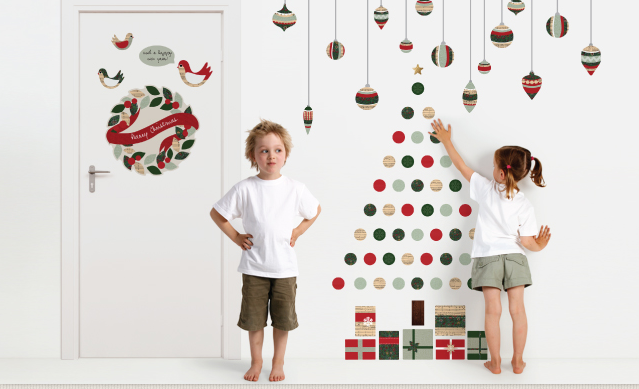How to toddler-proof Christmas - get this Christmas tree wall sitcker from tinyme