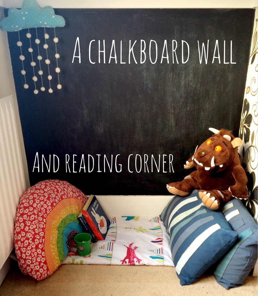 How to make a chalkboard wall and toddler reading corner