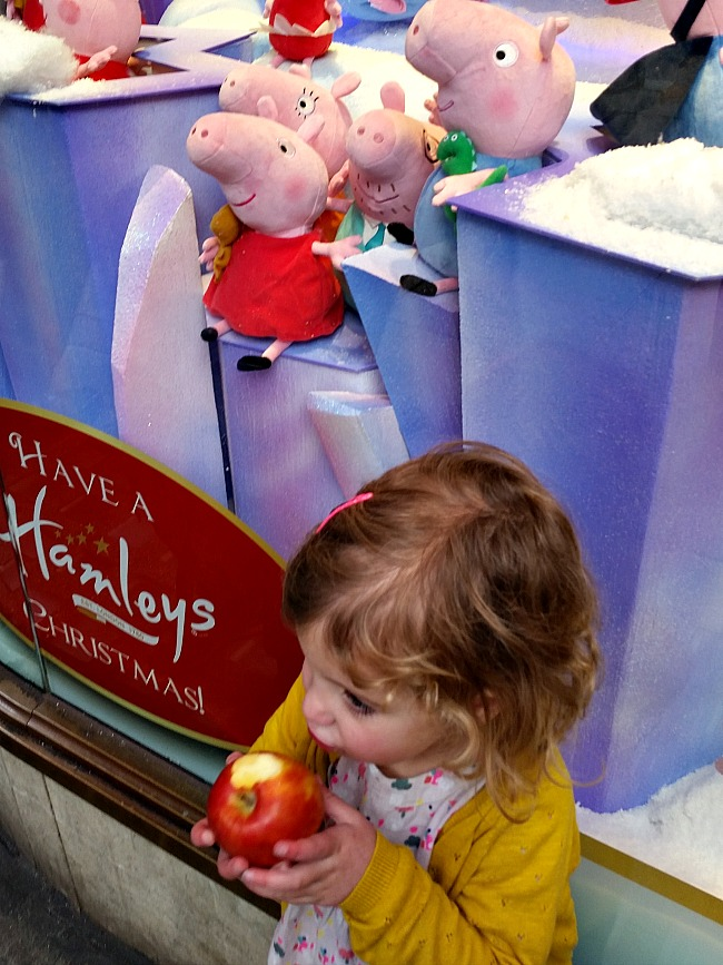Hamleys window displays at Christmas