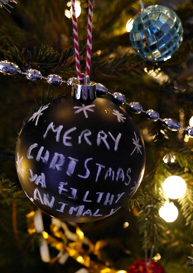 Merry Christmas ya filthy animal chalkboard bauble