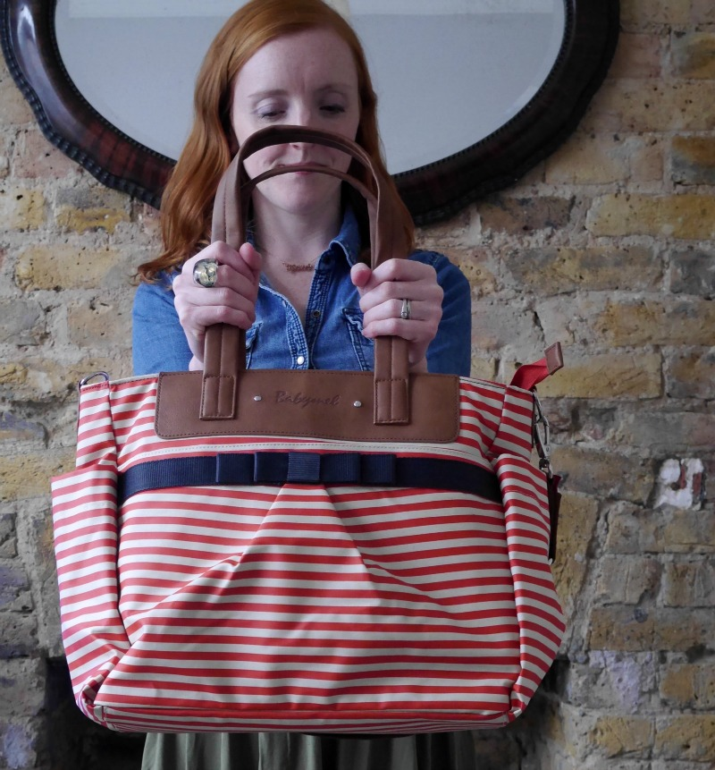 Review of the Babymel Cara diaper bag in red stripe