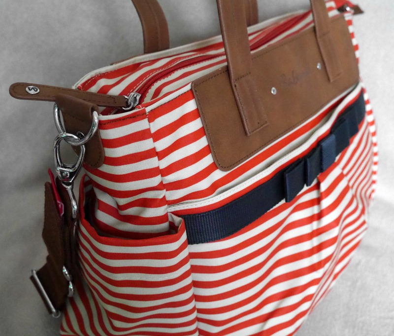 Diaper bag review - Babymel Cara red stripe