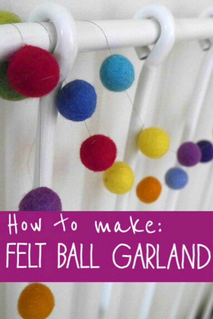 How to guide to making an easy garland from felt balls
