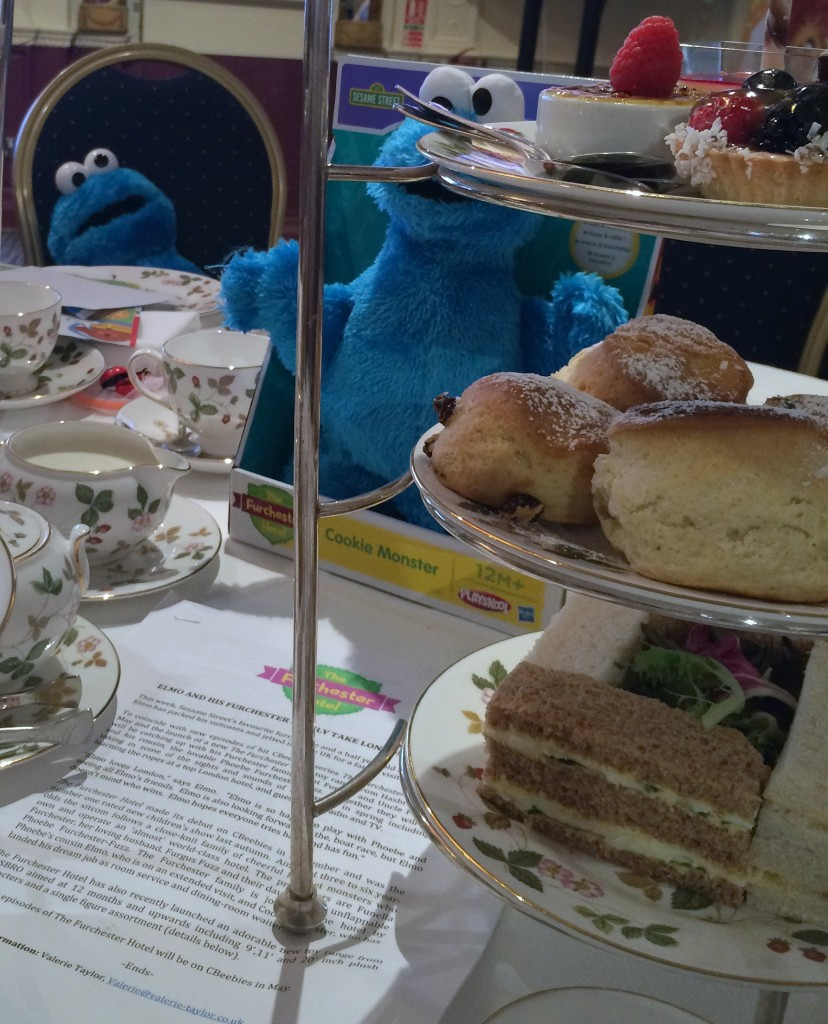 Cookie Monster toys and afternoon tea at the Millenium Mayfair hotel, London