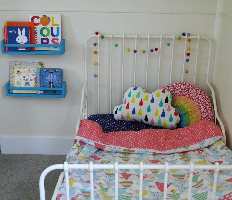 IKEA hack spice rack bookshelves and colourful toddler bedding