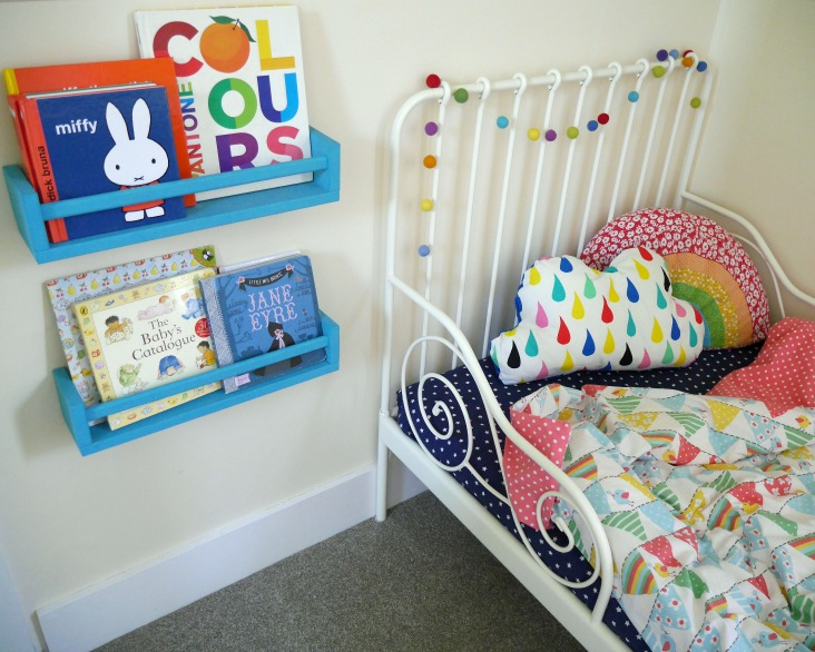 IKEA toddler bed and spice rack bookshelves