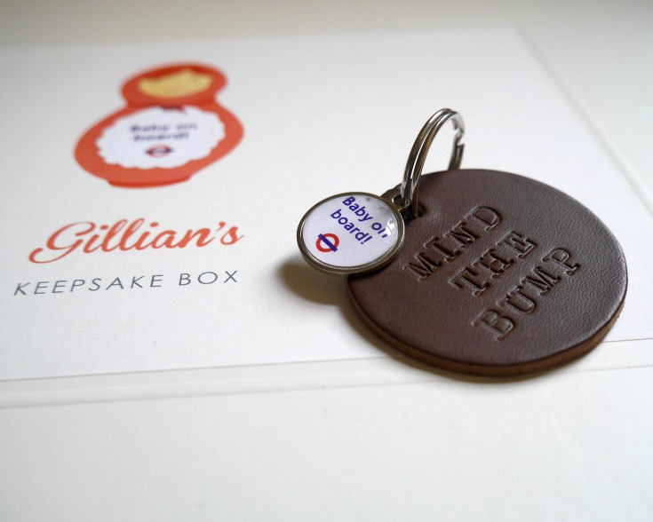 Baby on Board badge range from Not on the High Street - keyring and memory box