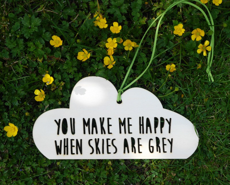You make me happy when skies are grey wooden mobile