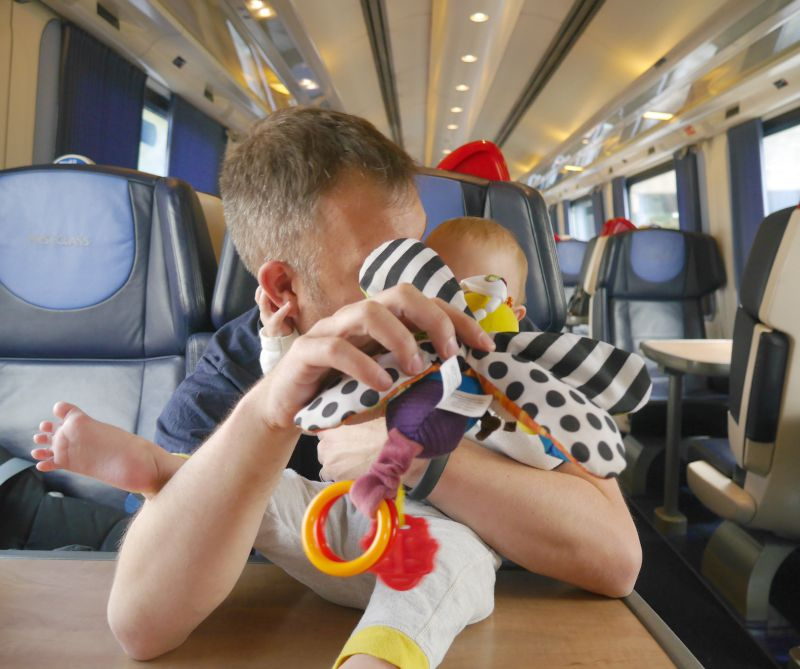 Entertaining babies on trains