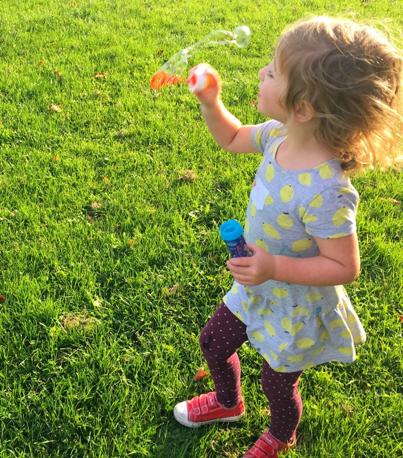 Bubble blowing in the park
