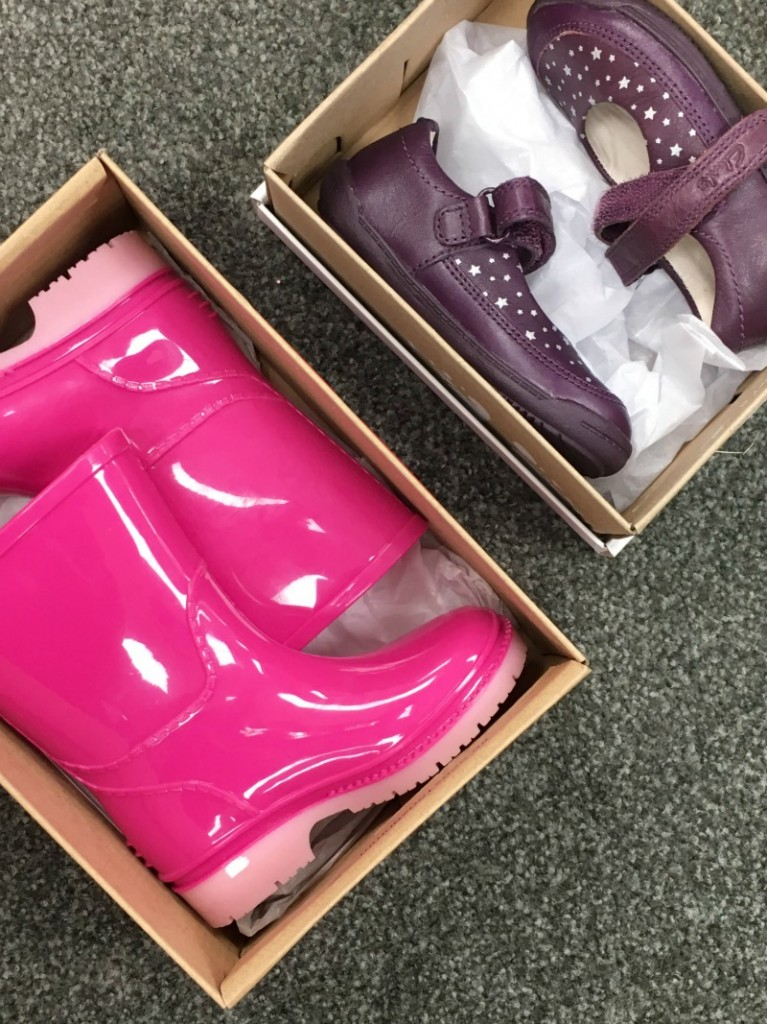 New shoes and pink wellies