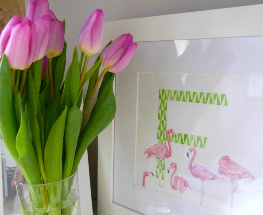 Tulips and F letter print