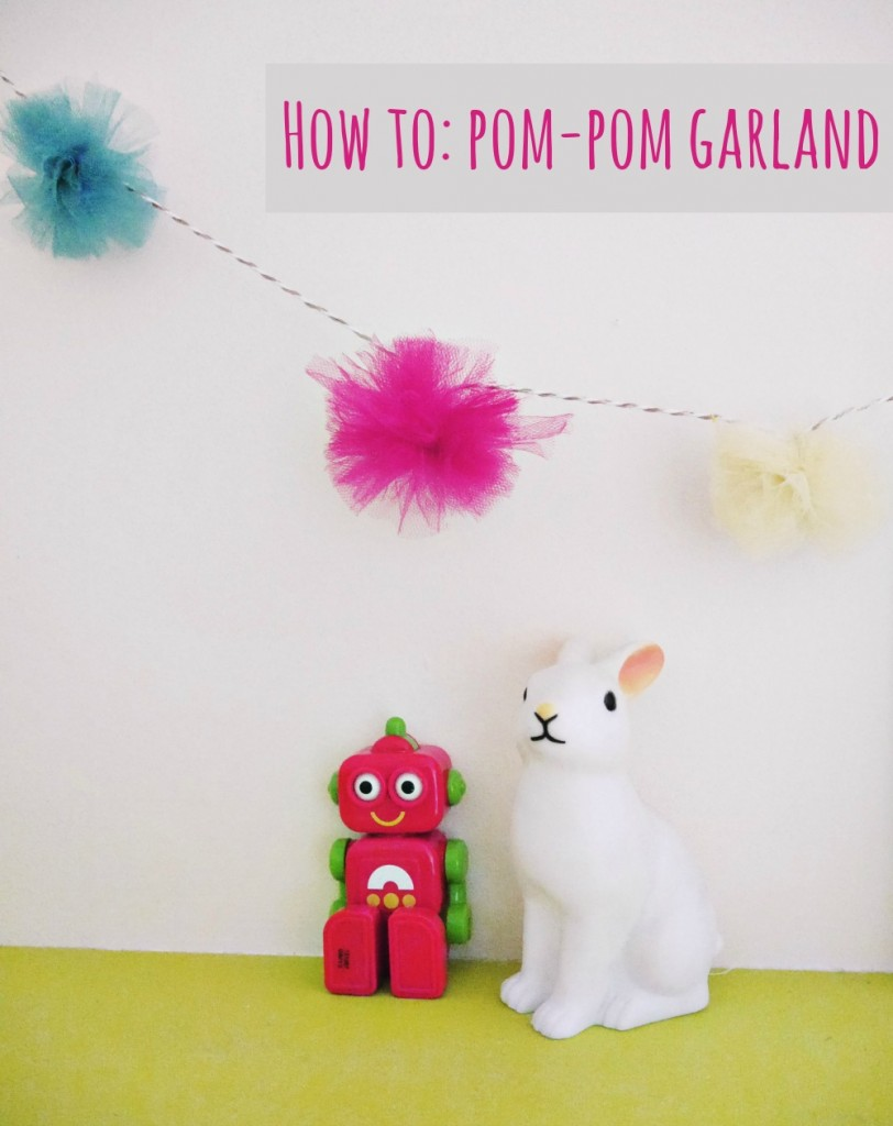 How to make a really easy no-sew pompom garland - idea over on www.ababyonboard.com