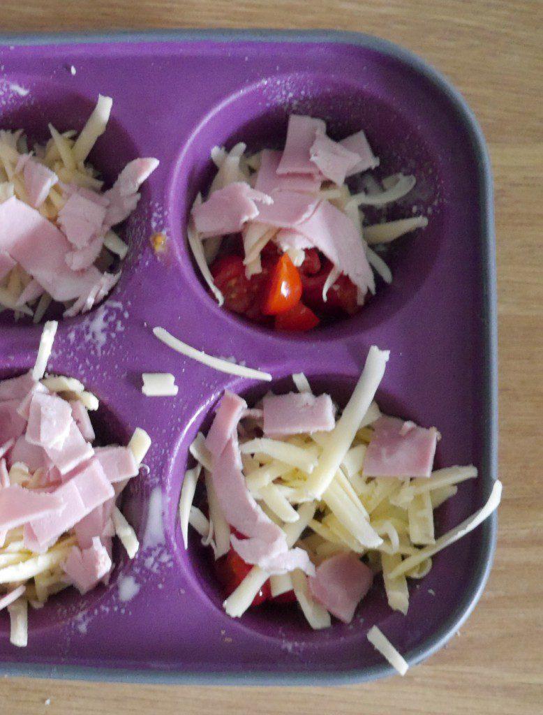 Making mini egg muffins - muffin tray