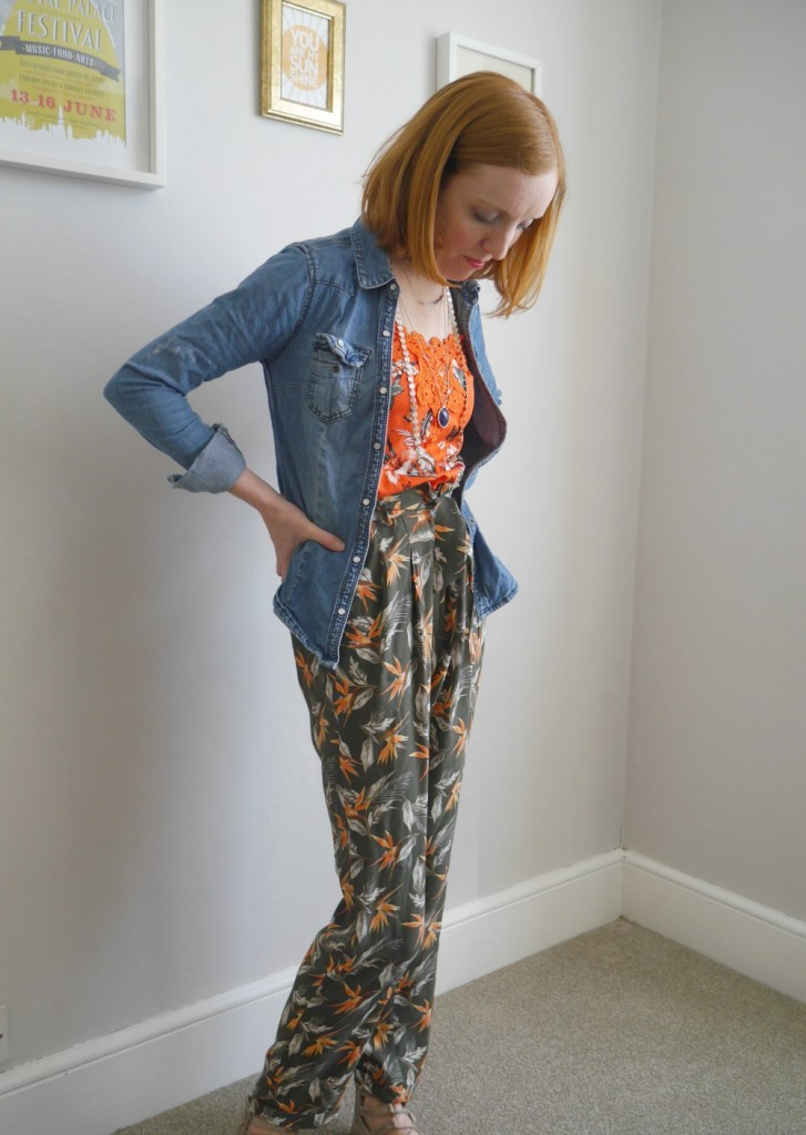 Patterned trousers and vest top