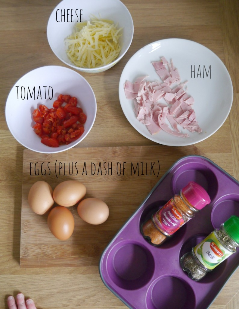 Ingredients and recipe for mini egg muffins - full version over at www.ababyonboard.com