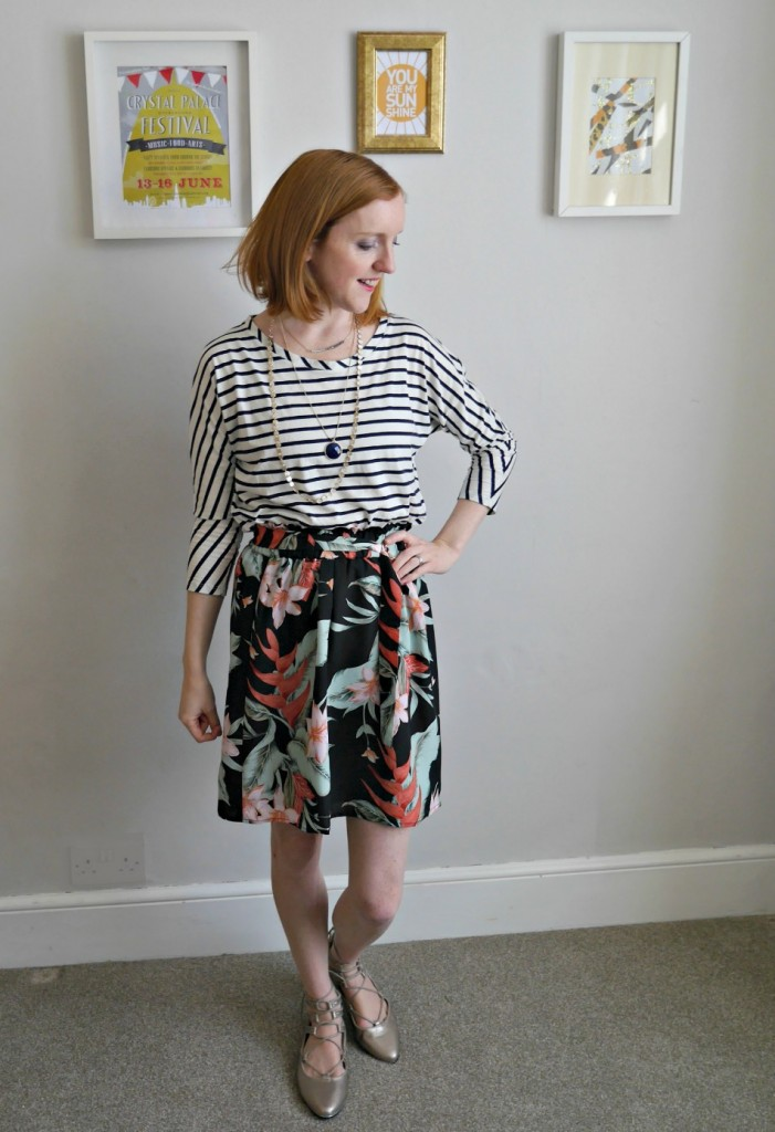 Striped top and flowered skirt