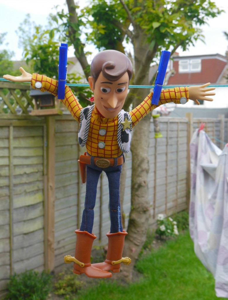 Woody from Toy Story on the washing line