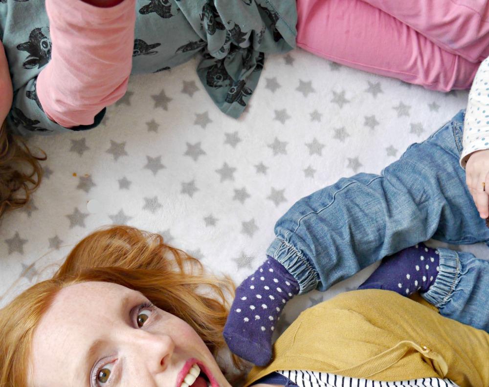 lying on rug