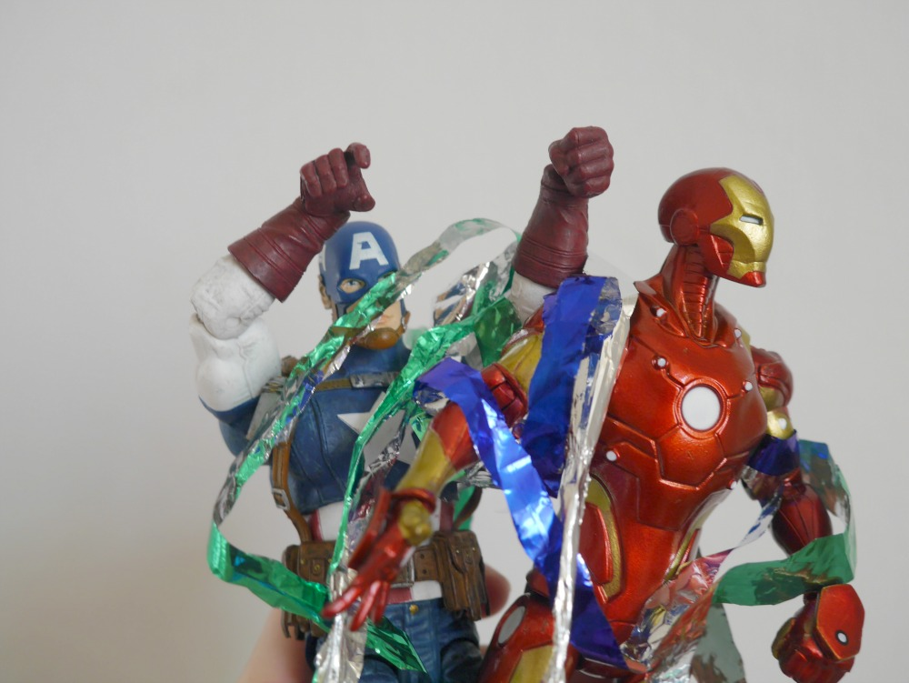 Captain America and Iron Man figures - plus tinsel