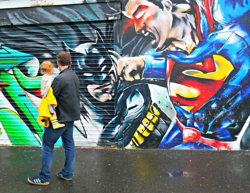 Superman and Batman wall mural graffiti in Margate