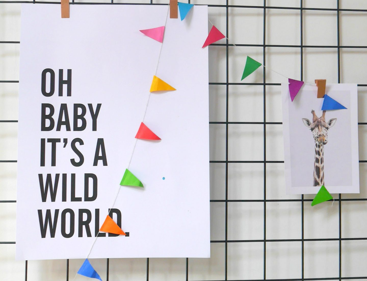 Baby it's a wild world print for children's rooms - colourful prints and art for children's nurseries from Desenio