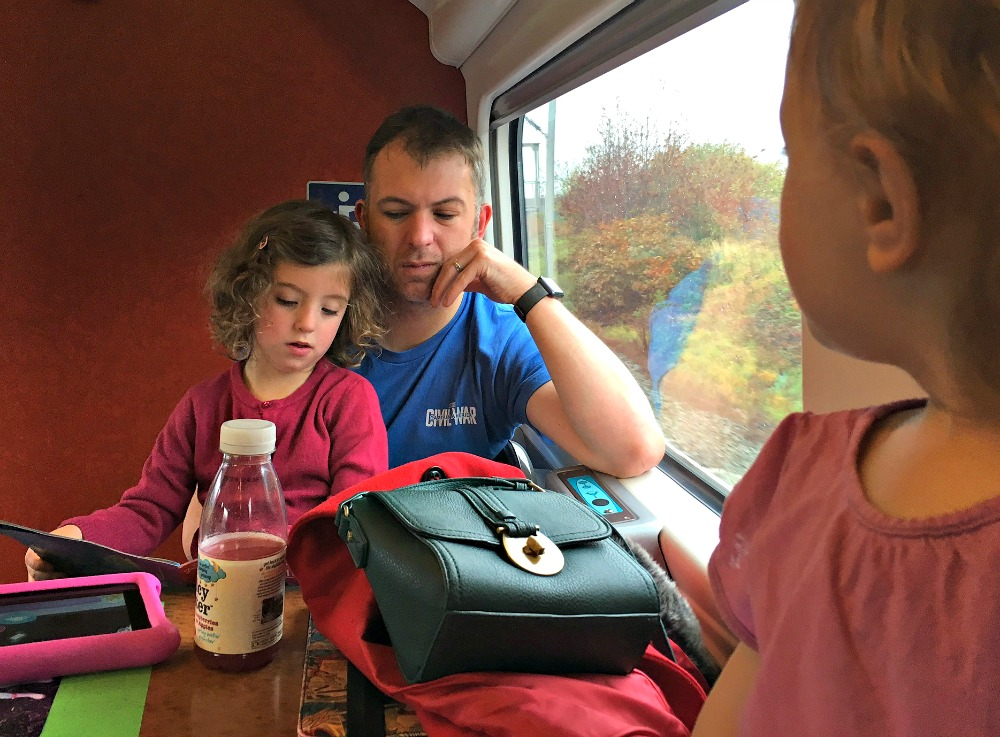 Stress-free train travel with small children - get a table, take books