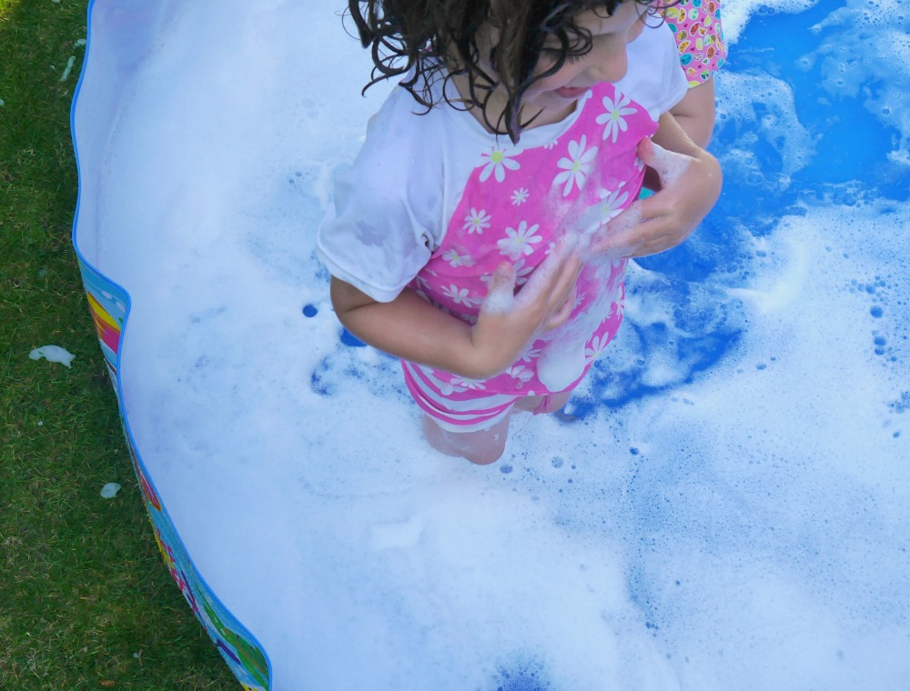Washing-up liquid in the paddling pool - top tip for summer