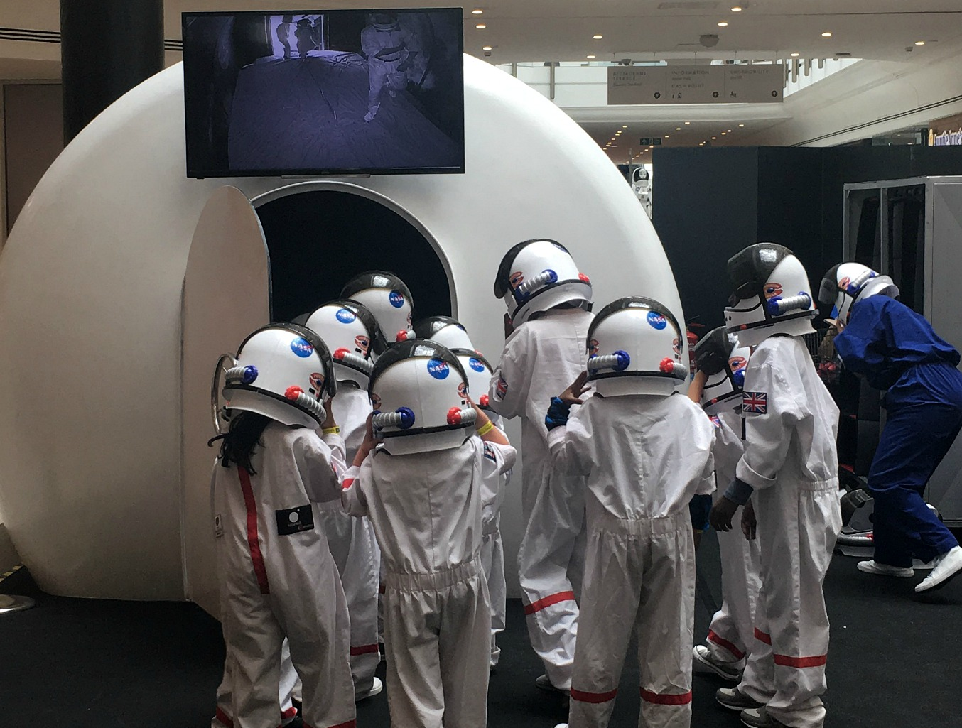 Kids on the moon at The Glades, Bromley, London