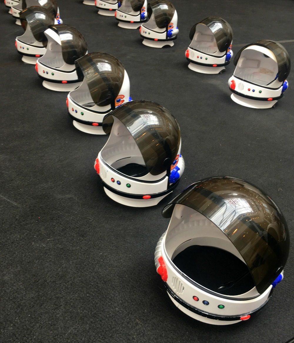 Ways to waste time this summer - Space helmets at The Glades, Bromley for the kids in space exhibition