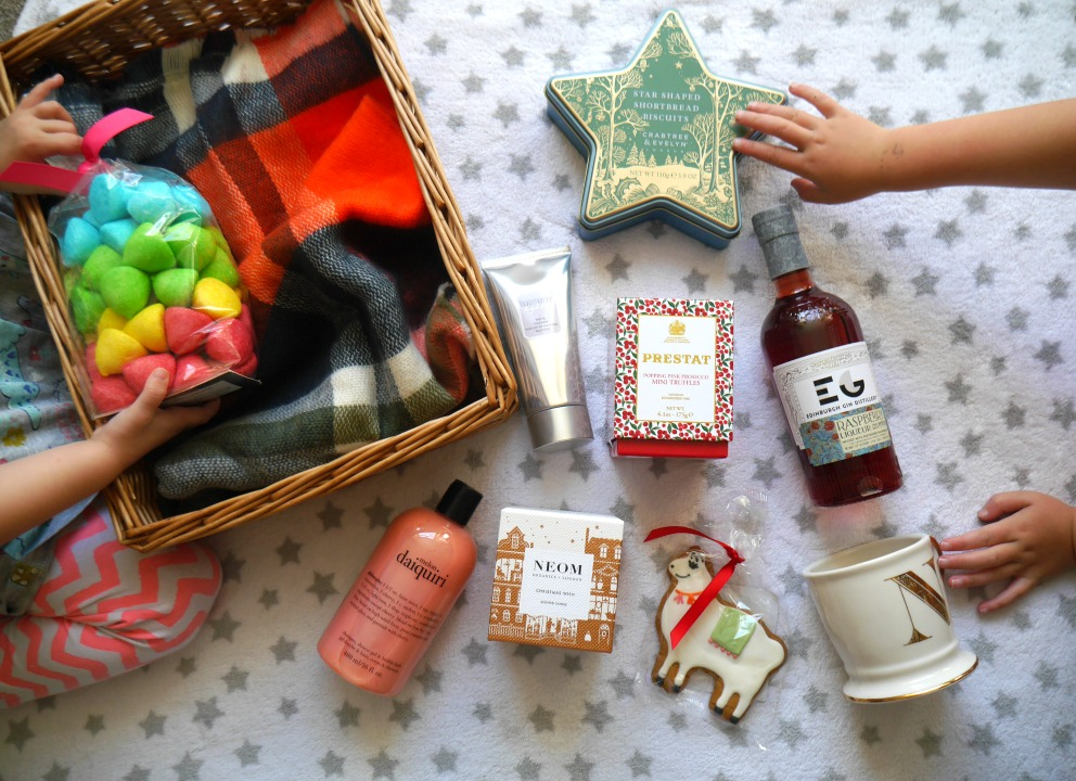Colourful Christmas hampers from John Lewis, chosen by my children