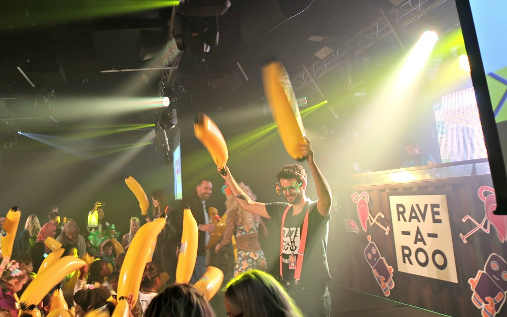 Banana inflatables at Rave a Roo, Ministry of Sound, London