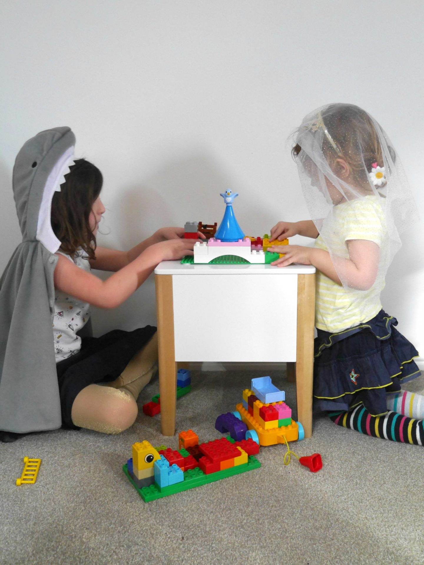 Playing with our portable Lego Duplo table from Great Little Trading Company