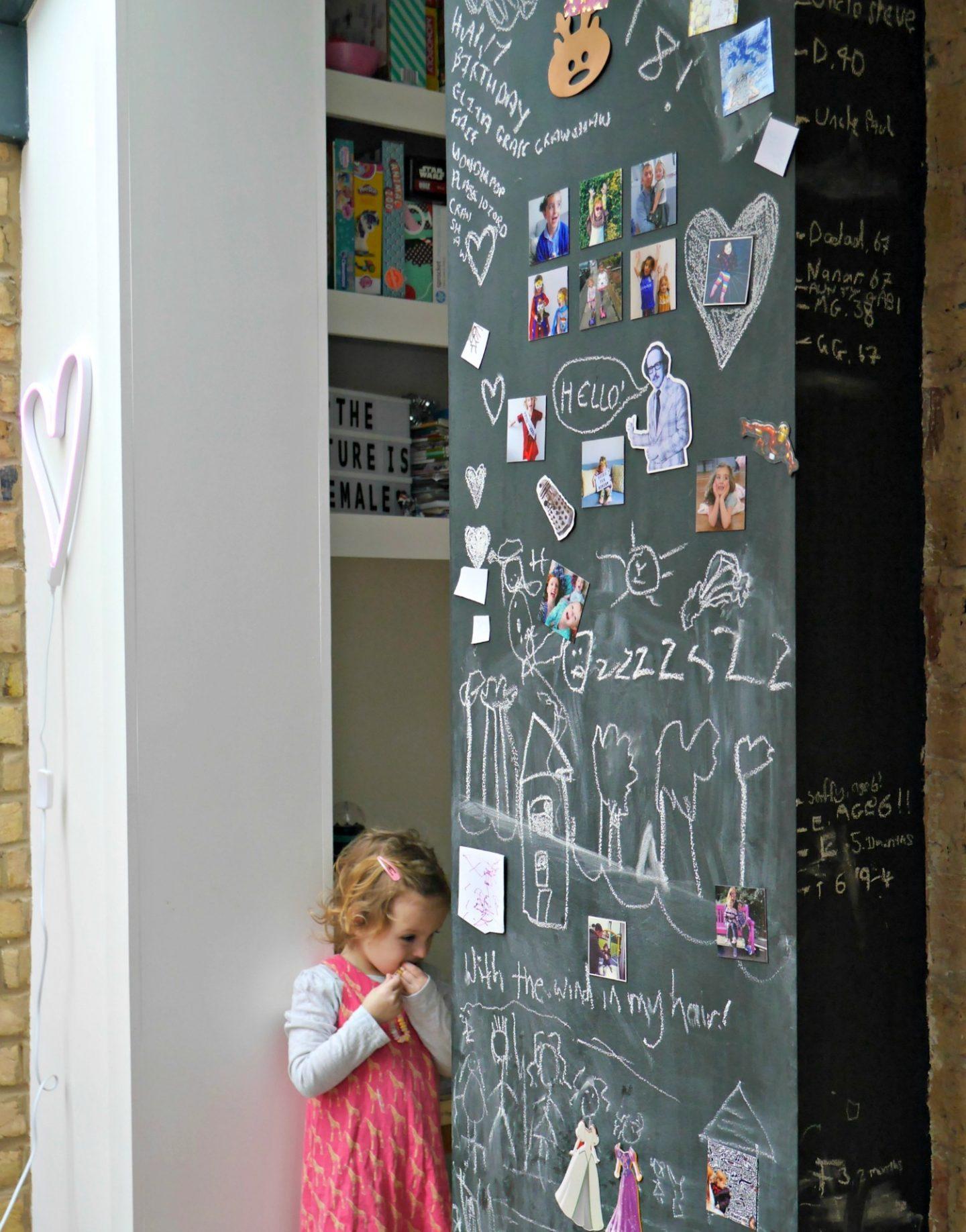 Magnetic chalkboard walls - side return extension in Victorian terrace in London