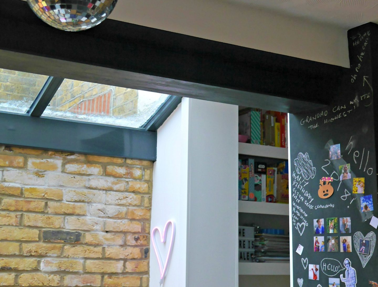 Our side return kitchen extension - exposed beam and glass roof