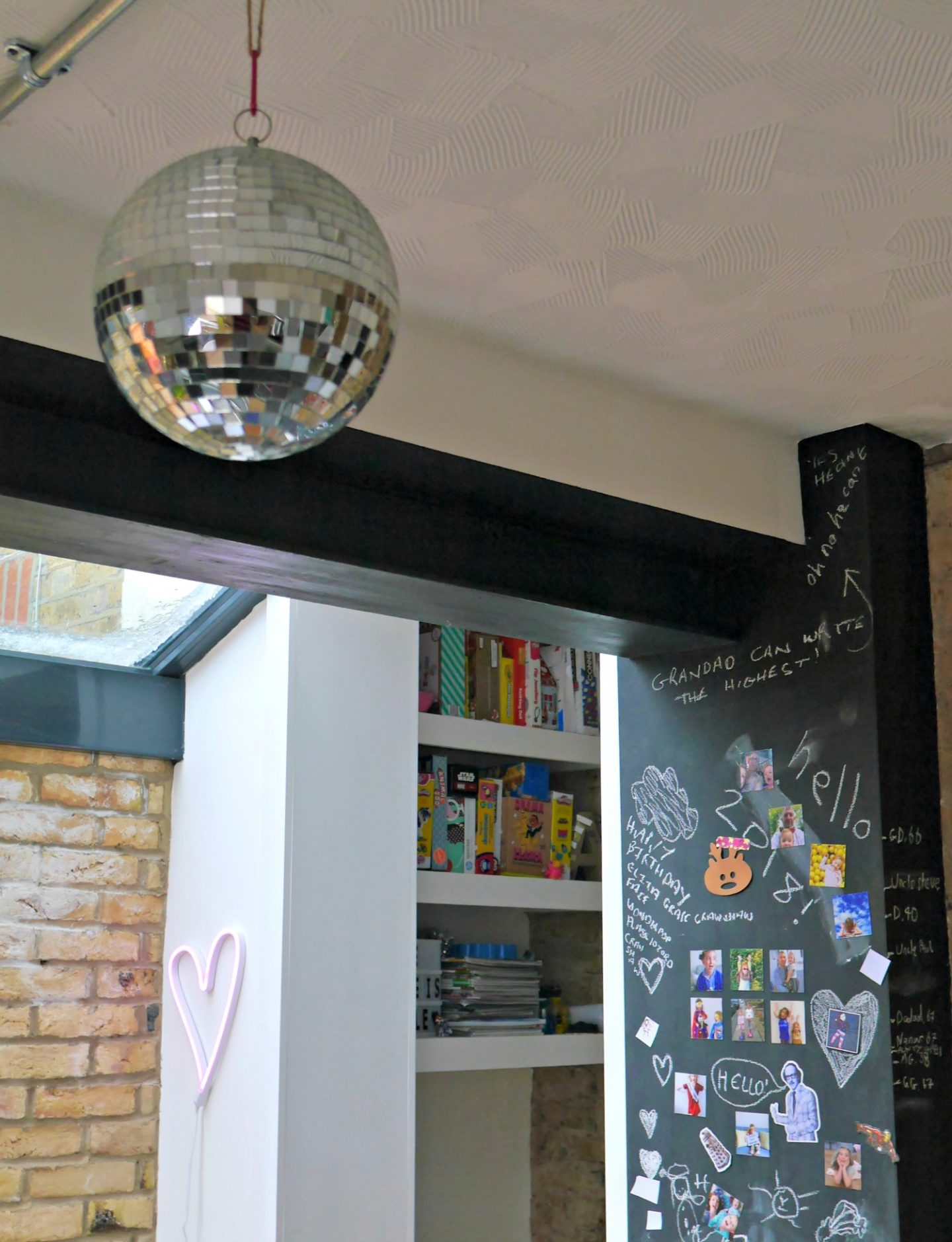 Side return kitchne extension - disco ball and chalkboard walls