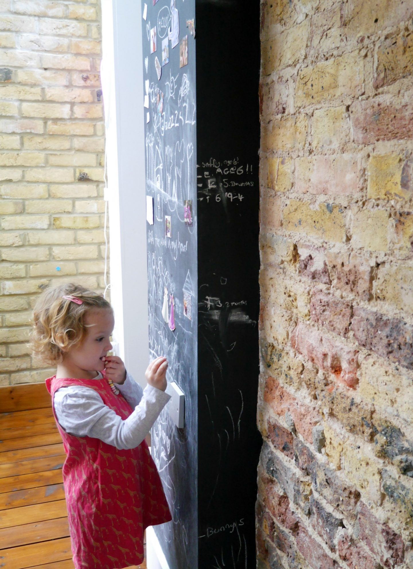 Victorian side return terrace house - kitchen chalkboard walls and height chart