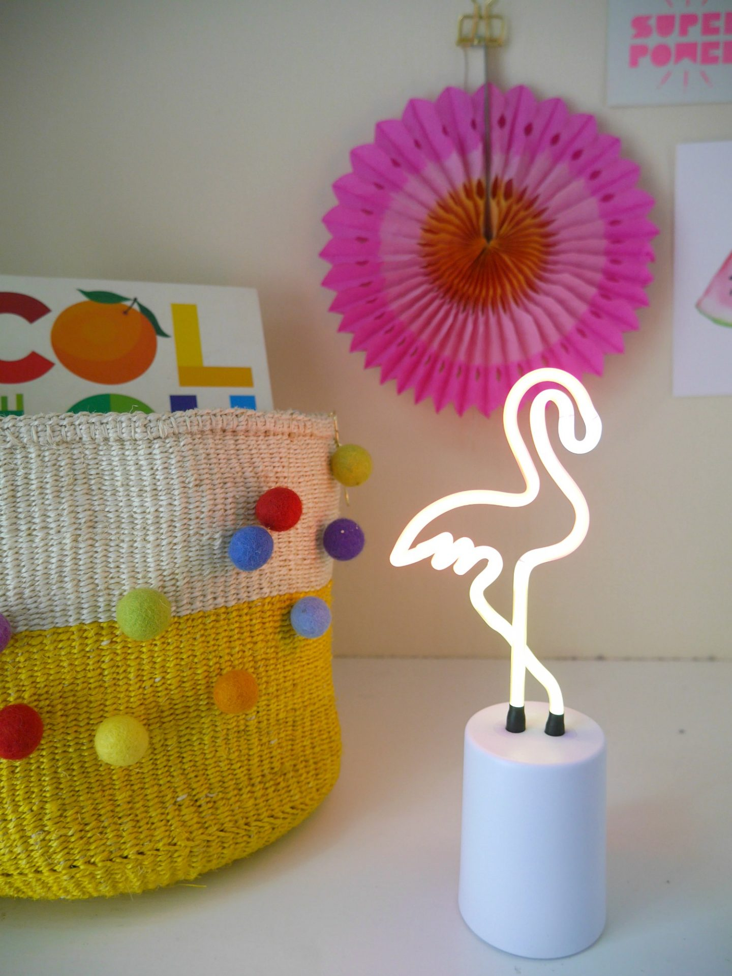 Home styling tips for spring - flamingo neon light