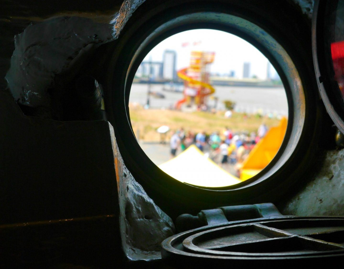 Cutty Sark review - view of Greenwich through the porthole