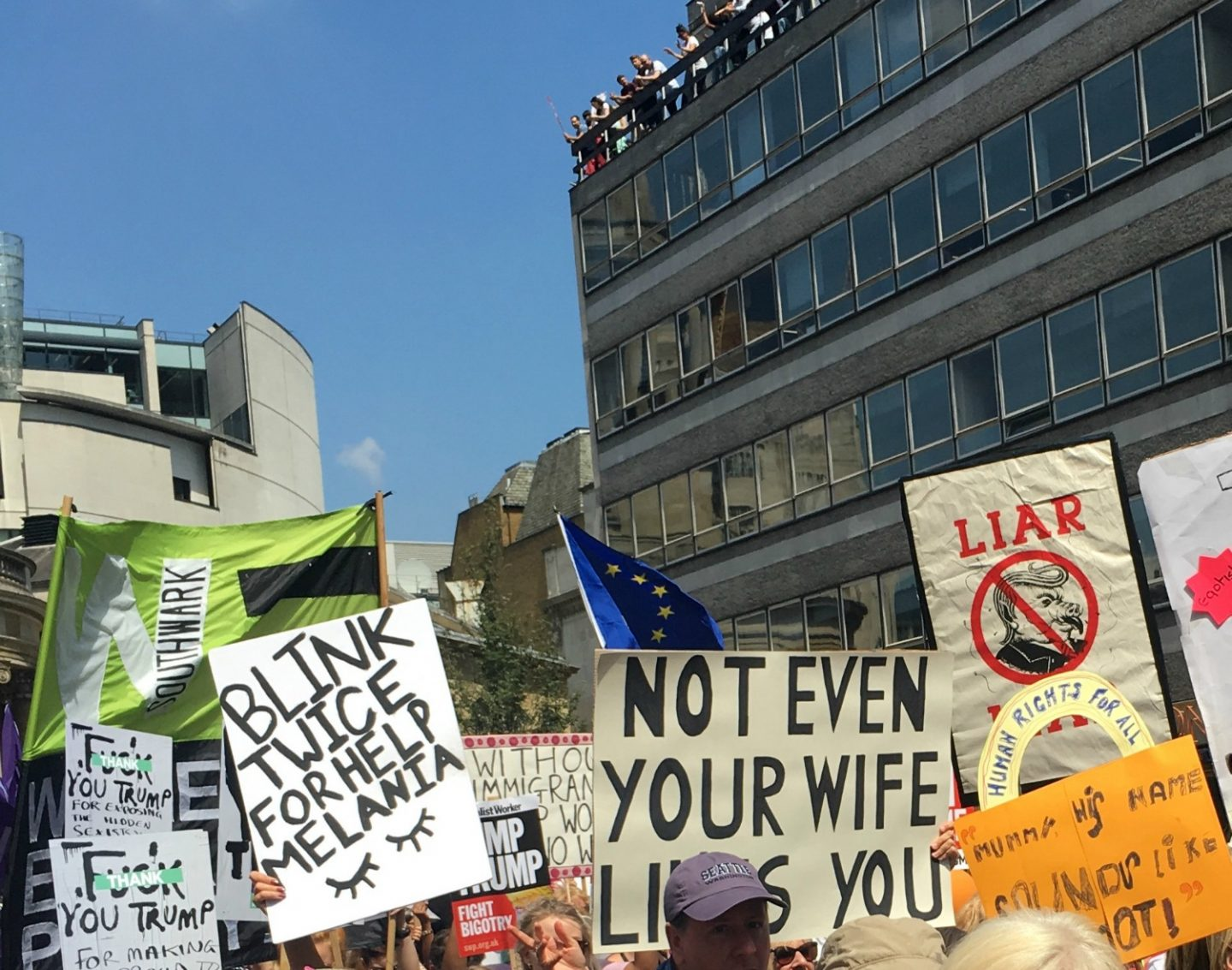 Signs at the Women's March London