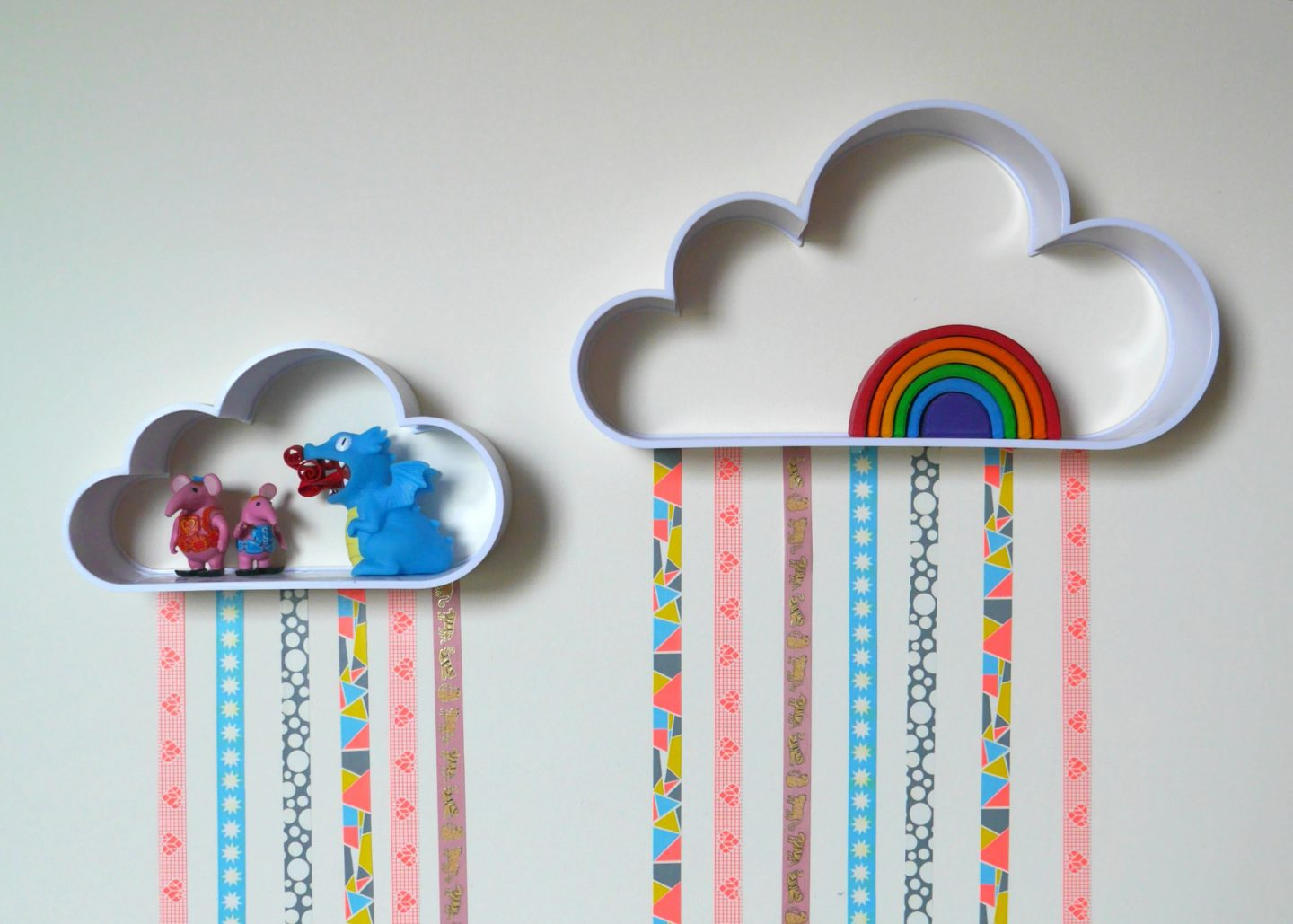 Cloud shelves- how to make DIY washi tape rain cloud shelves - easy kid's room DIY